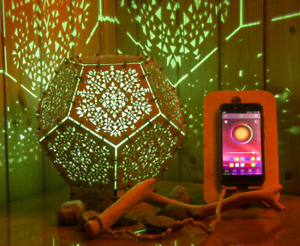 """Wooden LED Smart lamp """"Power of Spirits"""" wooden psychedelic geometry night lamp"""