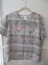 women's Blair Boutique multi-color floral polyester blouse shirt top size Large