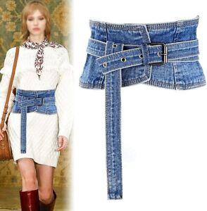 Women's Denim Peplum Waist Cinch Belt Wide Corset Belts