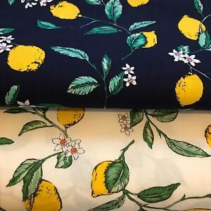 Lemon Fruit Printed 100% Cotton Fabric, Sewing, Craft, Cream or Navy UK SELLER