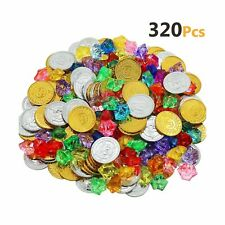 HEHALI 320 Pieces Pirate Toys Gold Coins and Pirate Gems Jewelery Playset, Tr...