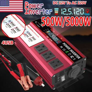 5000W Car Power Inverter 12V DC To AC 110V 120V Solar Converter LCD 4USB Charger