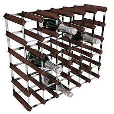 RTA Galvanised Steel/Mahogany Pine 36-Bottle Wine Rack Brown NEW