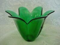 Collectible Teal / Dark Green Blown Art Glass Tulip Shaped Bowl/Votive/Vase