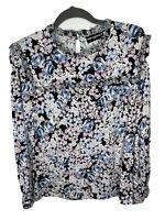 Karl Lagerfeld Paris Womens Blouse Ruffles Long Sleeve Size Small Floral Print