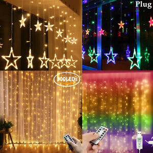 LED Stars / Rice String Fairy Curtain Window Lights USB Remote Control / Plug In