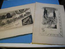 """REUNION DE 2 EAUX-FORTES """"OMBRES 1911-13 ECOLE POLYTECHNIQUE ART NAÏF Rare"""