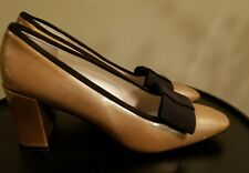Delman Vintage Block Heel Pumps Shoes Gold Patent Grosgrain Black Bow 9-1/2