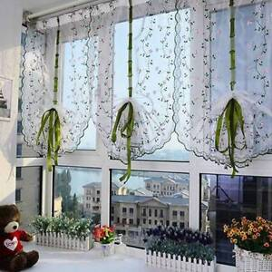 Fresh Hand Embroidered Floral Cafe Kitchen Shade Sheer Voile Door Curtain