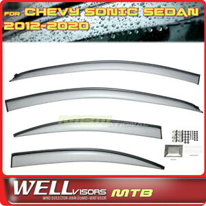 Wellvisors Rain Sun Wind Deflectors Sedan Chevy Sonic 12-20 Window Visors Black