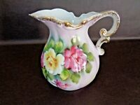 Vintage Ceramic Hand Painted Pitcher With Gold Trim (Cat.#1T014)