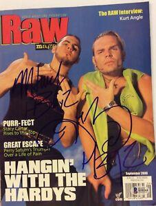 HARDY BOYZ MATT & JEFF WWF SIGNED MAGAZINE BECKETT BAS WWE