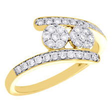 14K Yellow Gold Two Stone Cluster Diamond Flower Bypass Engagement Ring 1/2 Ct.