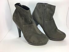 Grey Ankle Boots Dorothy Perkins Suede Effect Patent Stiletto High Heel UK7 (CA)