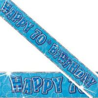 12Ft Long 70th Blue Birthday Holographic Banner Party Decorations Party Supply