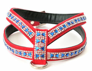 DOG PUPPY GEMSTONE DIAMANTE HARNESS SMALL DOG SIZES RED OR PINK VELVET