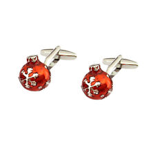 Beautifully Detailed Red Christmas Bauble Cufflinks & Organza Pouch