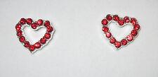 Heart Earrings Red Crystals Silver Tone Pierced Love Lightweight New