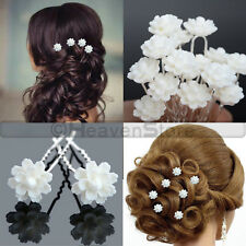 Bridal Hair Pins Rhinestone Pearls Diamante Flower Slide Clips Grips Wedding Lot 6x Hairpins Style 05
