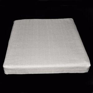 Qh09t Pale Grey Thick Cotton Blend 3D Box Sofa Seat Cushion Cover Custom Size