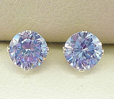 AMETHYST SILVER STUD EARRINGS - ROUND 5mm CREATED STONE 1029