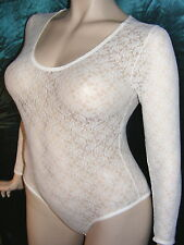 CREAM LACE BODYSTOCKING WITH LONG SLEEVES AND STUD FASTENING - VERY PRETTY! BN