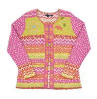 Womens Gudrun Sjoden Cotton Cardigan Jumper Pink Floral Folk Style Size M