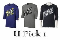 Nike 3/4 Sleeve Tee Athletic Logo Top Mens T-Shirt Sports Active Soft Cotton BTS