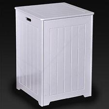 LARGE SQUARE WOODEN LAUNDRY BASKET WHITE BATHROOM BEDROOM CLOTHES HAMPER WASHING