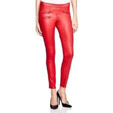 Hue Women Zippered Glossy Denim Leggings Deep Red Sz XL NEW
