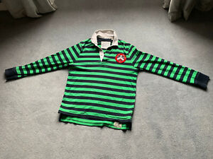 Jack Wills Mens Green & Blue Striped Rugby Shirt Size XL