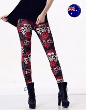 Women Black Halloween Skull Skeleton Rose Costume Skinny Stretch Leggings Pants
