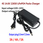 14.6V 4S 22650 LiFePO4 Battery Packs Dual IC Constant Charger 3A / 4A /5A Charge