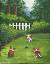8X10 Print Of Painting Ryta Pembroke Welsh Corgi Flowers Gift Whimsical Spring
