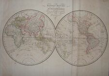 1821 WORLD MAP Globe Ambroise Tardieu Globi Mappamondo Planisfero carte du mond