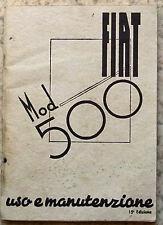 FIAT 500 AUTO istruzioni manuale 1949 RISTAMPA # 603.00.290 TESTO ITALIANO
