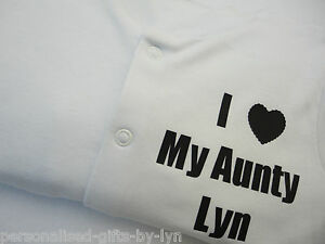 Personalised Babygrow - Sleepsuit - I Love My Aunty or any message can be added