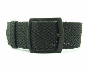 20mm 22mm Premium Black Braided Nylon Perlon Watch Strap (Black Buckle)
