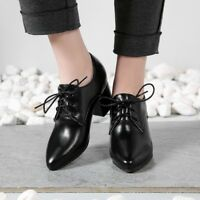 Hot Sale Womens Ladies Casual Brogues Lace Up Mid Block Heel Shoes Leather SZ