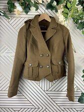 ZARA TRF British Collection Mini Blazer Jacket Green Brown Double Breast Size S