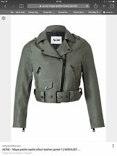 Acne Mape Petite Green Reptile Effect Leather Biker Jacket Eu 40 UK12