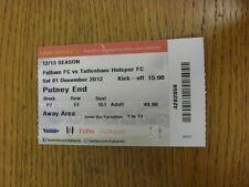 Billete De 01/12/2012: Fulham v Tottenham Hotspur (plegado). gracias por ver este