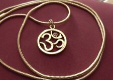 "Golden Buddhist Ohm Symbol Pendant & 24"" 18K Gold Filled Chain 23mm Gold filled"