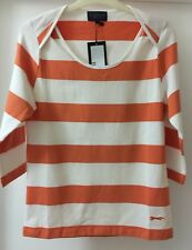 Paul Costelloe Orange and White StripedJersey Top In Size 3 12-14 BNWT RRP £45