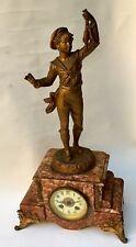 Superbe Ancienne PENDULE 1900 Marbre & Régule «Garçon Pêcheur «Patine Bronze