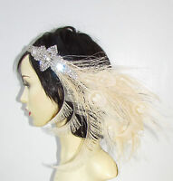 Ivory Cream Silver 1920s Feather Headband Headpiece Flapper Great Gatsby 1376