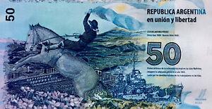 ARGENTINA $50 PESOS MALVINAS 2015 ,CURRENCY BANKNOTE UNCIRCULATED