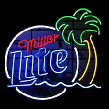 "New Miller Lite Palm Tree Beer Bar Man Cave Neon Light Sign 17""x14"""