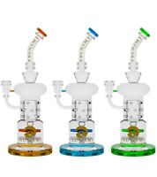 Tsunami 12″ Double Propeller Drum Perc Recycler Glass Water Bong - Choose Color