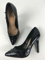 WOMENS F&F UK 3 EU36 BLACK FAUX PATENT LEATHER STUDDED STILETTO HEEL COURT SHOES